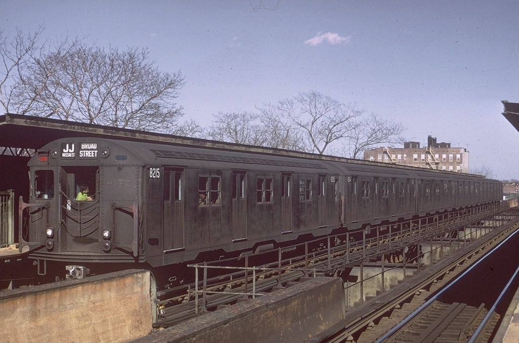 (200k, 1024x676)<br><b>Country:</b> United States<br><b>City:</b> New York<br><b>System:</b> New York City Transit<br><b>Line:</b> BMT Nassau Street/Jamaica Line<br><b>Location:</b> 75th Street/Elderts Lane <br><b>Route:</b> J<br><b>Car:</b> R-27 (St. Louis, 1960)  8215 <br><b>Photo by:</b> Doug Grotjahn<br><b>Collection of:</b> Joe Testagrose<br><b>Date:</b> 3/24/1968<br><b>Viewed (this week/total):</b> 5 / 4964