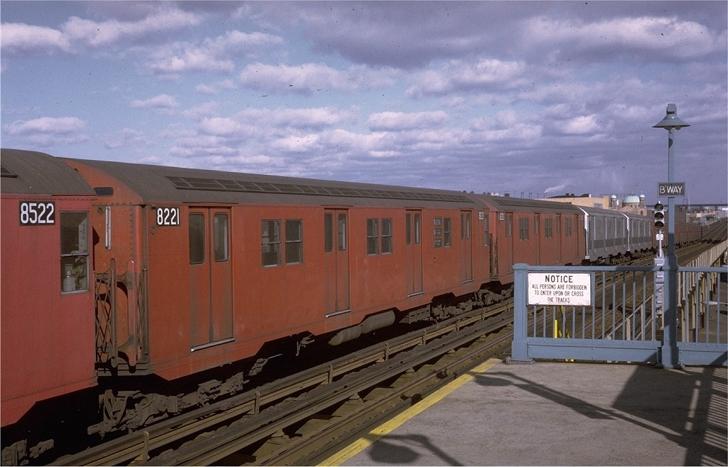 (171k, 1024x657)<br><b>Country:</b> United States<br><b>City:</b> New York<br><b>System:</b> New York City Transit<br><b>Line:</b> BMT Astoria Line<br><b>Location:</b> Broadway <br><b>Route:</b> RR<br><b>Car:</b> R-27 (St. Louis, 1960)  8221 <br><b>Photo by:</b> Joe Testagrose<br><b>Date:</b> 12/6/1970<br><b>Viewed (this week/total):</b> 0 / 3311