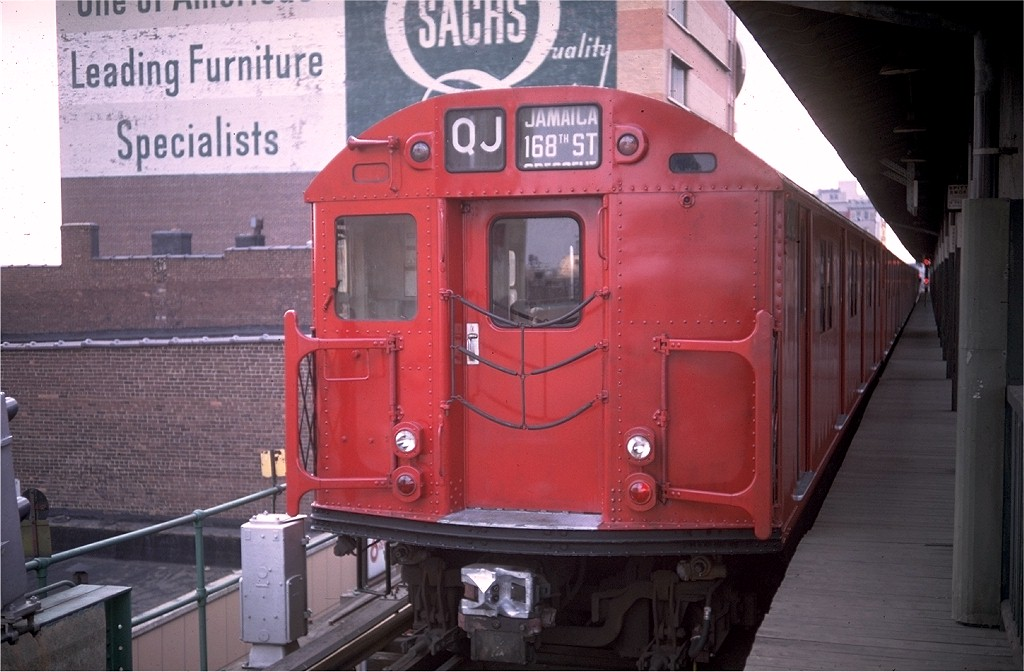 (170k, 1024x672)<br><b>Country:</b> United States<br><b>City:</b> New York<br><b>System:</b> New York City Transit<br><b>Line:</b> BMT Nassau Street/Jamaica Line<br><b>Location:</b> 168th Street (Demolished) <br><b>Route:</b> QJ<br><b>Car:</b> R-27 (St. Louis, 1960)  8242 <br><b>Photo by:</b> Doug Grotjahn<br><b>Collection of:</b> Joe Testagrose<br><b>Date:</b> 3/15/1969<br><b>Viewed (this week/total):</b> 0 / 4406