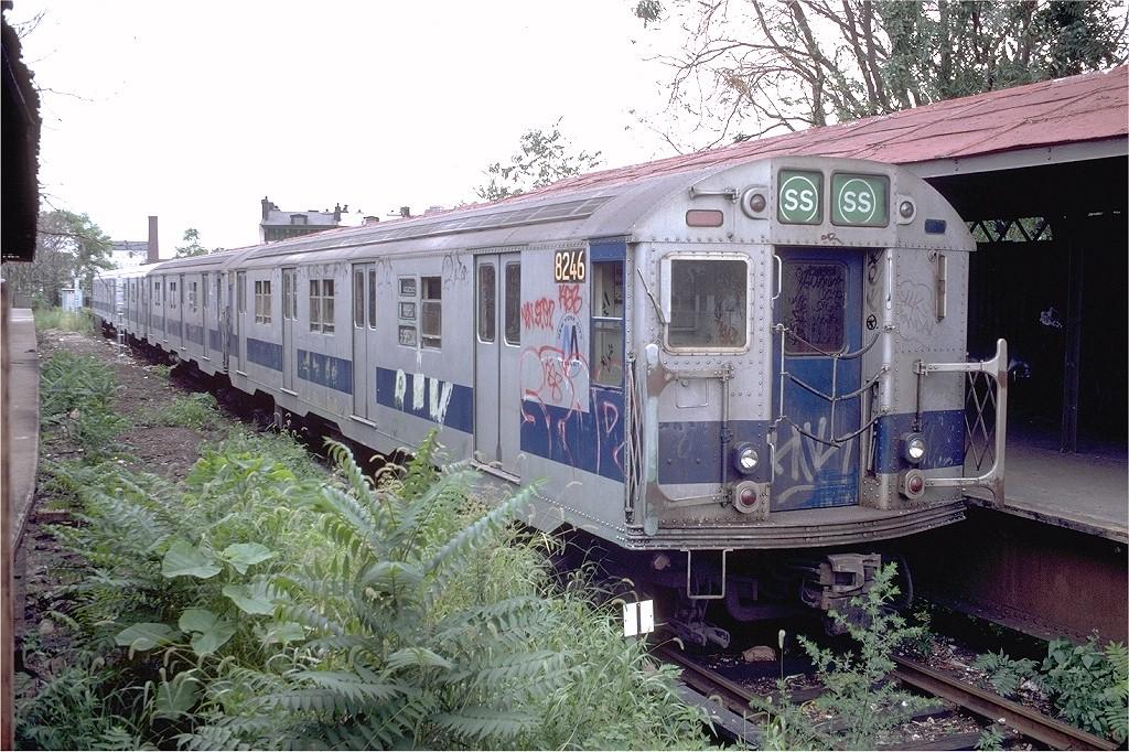 (267k, 1024x682)<br><b>Country:</b> United States<br><b>City:</b> New York<br><b>System:</b> New York City Transit<br><b>Line:</b> BMT Franklin<br><b>Location:</b> Franklin Avenue <br><b>Route:</b> Franklin Shuttle<br><b>Car:</b> R-27 (St. Louis, 1960)  8246 <br><b>Photo by:</b> Doug Grotjahn<br><b>Collection of:</b> Joe Testagrose<br><b>Date:</b> 8/22/1981<br><b>Viewed (this week/total):</b> 3 / 4582