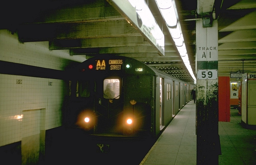 (150k, 1024x661)<br><b>Country:</b> United States<br><b>City:</b> New York<br><b>System:</b> New York City Transit<br><b>Line:</b> IND 8th Avenue Line<br><b>Location:</b> 59th Street/Columbus Circle <br><b>Route:</b> AA<br><b>Car:</b> R-30 (St. Louis, 1961) 8271 <br><b>Photo by:</b> Doug Grotjahn<br><b>Collection of:</b> Joe Testagrose<br><b>Date:</b> 2/23/1969<br><b>Viewed (this week/total):</b> 0 / 4397