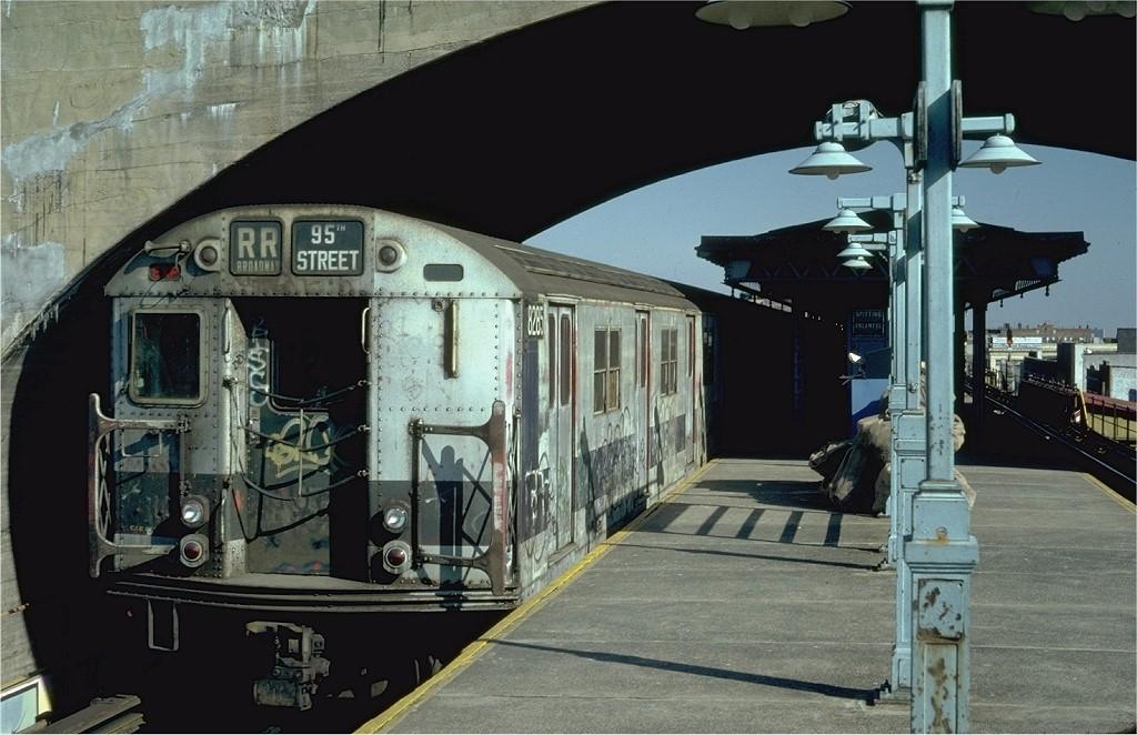 (185k, 1024x662)<br><b>Country:</b> United States<br><b>City:</b> New York<br><b>System:</b> New York City Transit<br><b>Line:</b> BMT Astoria Line<br><b>Location:</b> Ditmars Boulevard <br><b>Route:</b> RR<br><b>Car:</b> R-30 (St. Louis, 1961) 8285 <br><b>Photo by:</b> Steve Zabel<br><b>Collection of:</b> Joe Testagrose<br><b>Date:</b> 2/10/1982<br><b>Viewed (this week/total):</b> 1 / 4595