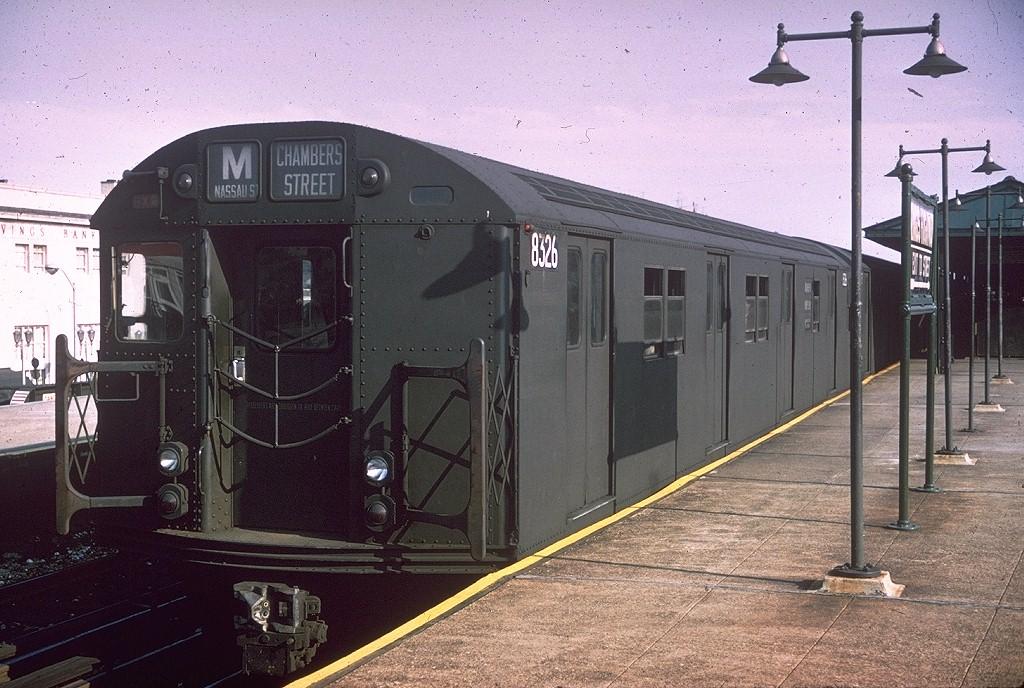 (229k, 1024x688)<br><b>Country:</b> United States<br><b>City:</b> New York<br><b>System:</b> New York City Transit<br><b>Line:</b> BMT Brighton Line<br><b>Location:</b> Kings Highway <br><b>Route:</b> M<br><b>Car:</b> R-30 (St. Louis, 1961) 8326 <br><b>Collection of:</b> Joe Testagrose<br><b>Date:</b> 7/12/1965<br><b>Viewed (this week/total):</b> 2 / 4331