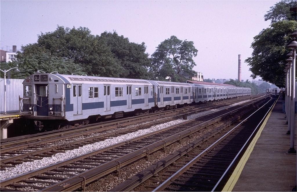 (259k, 1024x663)<br><b>Country:</b> United States<br><b>City:</b> New York<br><b>System:</b> New York City Transit<br><b>Line:</b> BMT Brighton Line<br><b>Location:</b> Avenue M <br><b>Route:</b> QJ<br><b>Car:</b> R-30 (St. Louis, 1961) 8360 <br><b>Photo by:</b> Steve Zabel<br><b>Collection of:</b> Joe Testagrose<br><b>Date:</b> 6/28/1972<br><b>Viewed (this week/total):</b> 4 / 3791