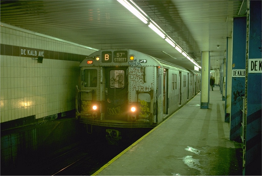 (194k, 1024x691)<br><b>Country:</b> United States<br><b>City:</b> New York<br><b>System:</b> New York City Transit<br><b>Location:</b> DeKalb Avenue<br><b>Route:</b> B<br><b>Car:</b> R-30 (St. Louis, 1961) 8372 <br><b>Photo by:</b> Doug Grotjahn<br><b>Collection of:</b> Joe Testagrose<br><b>Date:</b> 1/4/1977<br><b>Viewed (this week/total):</b> 0 / 6283