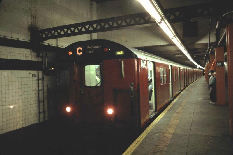 (48k, 800x535)<br><b>Country:</b> United States<br><b>City:</b> New York<br><b>System:</b> New York City Transit<br><b>Line:</b> IND 8th Avenue Line<br><b>Location:</b> 59th Street/Columbus Circle <br><b>Route:</b> C<br><b>Car:</b> R-30 (St. Louis, 1961) 8403 <br><b>Photo by:</b> Glenn L. Rowe<br><b>Date:</b> 6/21/1991<br><b>Notes:</b> With 8313-14<br><b>Viewed (this week/total):</b> 4 / 6033
