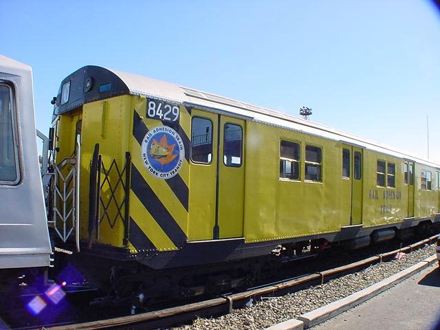 (62k, 640x480)<br><b>Country:</b> United States<br><b>City:</b> New York<br><b>System:</b> New York City Transit<br><b>Location:</b> Coney Island Yard<br><b>Car:</b> Rail Adhesion Train (R-30/R-33 Rebuilds) 8429 <br><b>Photo by:</b> Salaam Allah<br><b>Date:</b> 10/29/2000<br><b>Notes:</b> Rail adhesion train<br><b>Viewed (this week/total):</b> 0 / 9143