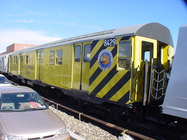 (61k, 640x480)<br><b>Country:</b> United States<br><b>City:</b> New York<br><b>System:</b> New York City Transit<br><b>Location:</b> Coney Island Yard<br><b>Car:</b> Rail Adhesion Train (R-30/R-33 Rebuilds) 8429 <br><b>Photo by:</b> Salaam Allah<br><b>Date:</b> 10/29/2000<br><b>Notes:</b> Rail adhesion train<br><b>Viewed (this week/total):</b> 9 / 7490