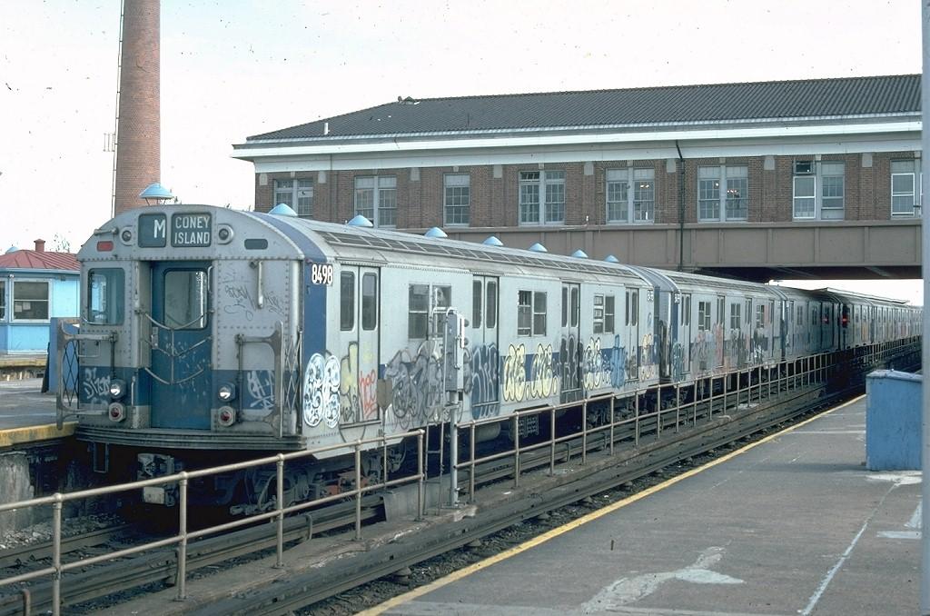 (210k, 1024x678)<br><b>Country:</b> United States<br><b>City:</b> New York<br><b>System:</b> New York City Transit<br><b>Location:</b> Coney Island/Stillwell Avenue<br><b>Route:</b> M<br><b>Car:</b> R-30 (St. Louis, 1961) 8498 <br><b>Photo by:</b> Ed McKernan<br><b>Collection of:</b> Joe Testagrose<br><b>Date:</b> 4/28/1976<br><b>Viewed (this week/total):</b> 5 / 4589