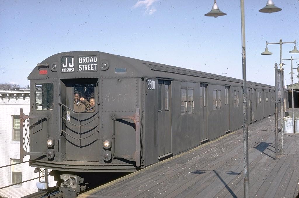 (198k, 1024x680)<br><b>Country:</b> United States<br><b>City:</b> New York<br><b>System:</b> New York City Transit<br><b>Line:</b> BMT Nassau Street/Jamaica Line<br><b>Location:</b> Crescent Street <br><b>Route:</b> JJ<br><b>Car:</b> R-30 (St. Louis, 1961) 8500 <br><b>Photo by:</b> Doug Grotjahn<br><b>Collection of:</b> Joe Testagrose<br><b>Date:</b> 3/24/1968<br><b>Viewed (this week/total):</b> 2 / 6697
