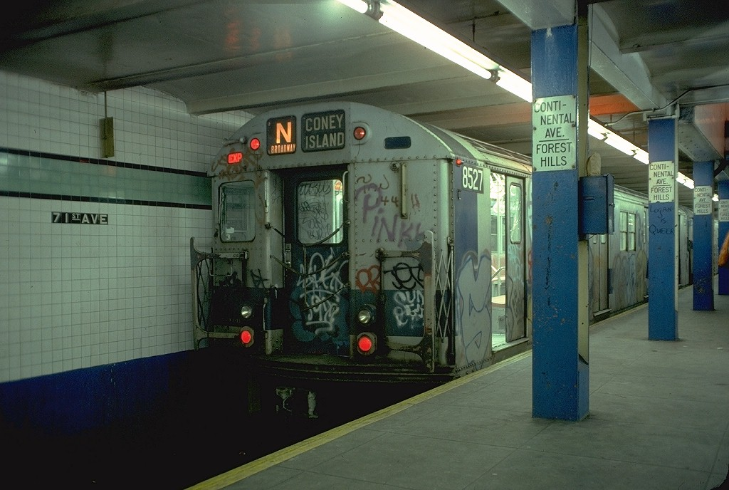 (181k, 1024x688)<br><b>Country:</b> United States<br><b>City:</b> New York<br><b>System:</b> New York City Transit<br><b>Line:</b> IND Queens Boulevard Line<br><b>Location:</b> 71st/Continental Aves./Forest Hills <br><b>Route:</b> N<br><b>Car:</b> R-30 (St. Louis, 1961) 8527 <br><b>Photo by:</b> Doug Grotjahn<br><b>Collection of:</b> Joe Testagrose<br><b>Date:</b> 2/9/1978<br><b>Viewed (this week/total):</b> 0 / 6572