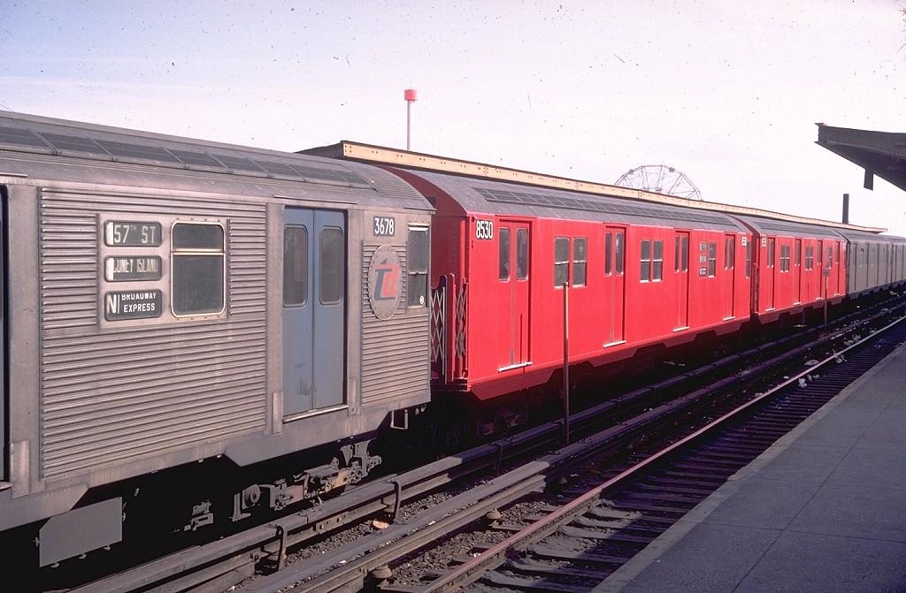 (193k, 1024x671)<br><b>Country:</b> United States<br><b>City:</b> New York<br><b>System:</b> New York City Transit<br><b>Location:</b> Coney Island/Stillwell Avenue<br><b>Route:</b> N<br><b>Car:</b> R-30 (St. Louis, 1961) 8530 <br><b>Photo by:</b> Doug Grotjahn<br><b>Collection of:</b> Joe Testagrose<br><b>Date:</b> 3/30/1969<br><b>Viewed (this week/total):</b> 0 / 4148