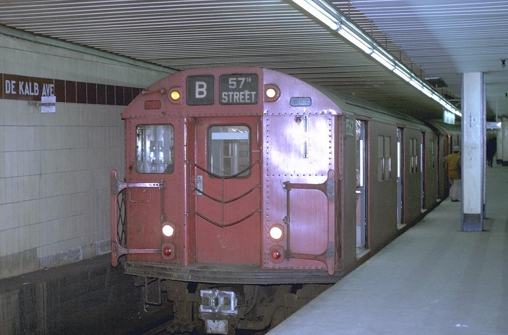 (200k, 1024x677)<br><b>Country:</b> United States<br><b>City:</b> New York<br><b>System:</b> New York City Transit<br><b>Location:</b> DeKalb Avenue<br><b>Route:</b> B<br><b>Car:</b> R-30 (St. Louis, 1961) 8562 <br><b>Photo by:</b> Joe Testagrose<br><b>Date:</b> 2/10/1971<br><b>Viewed (this week/total):</b> 2 / 4592