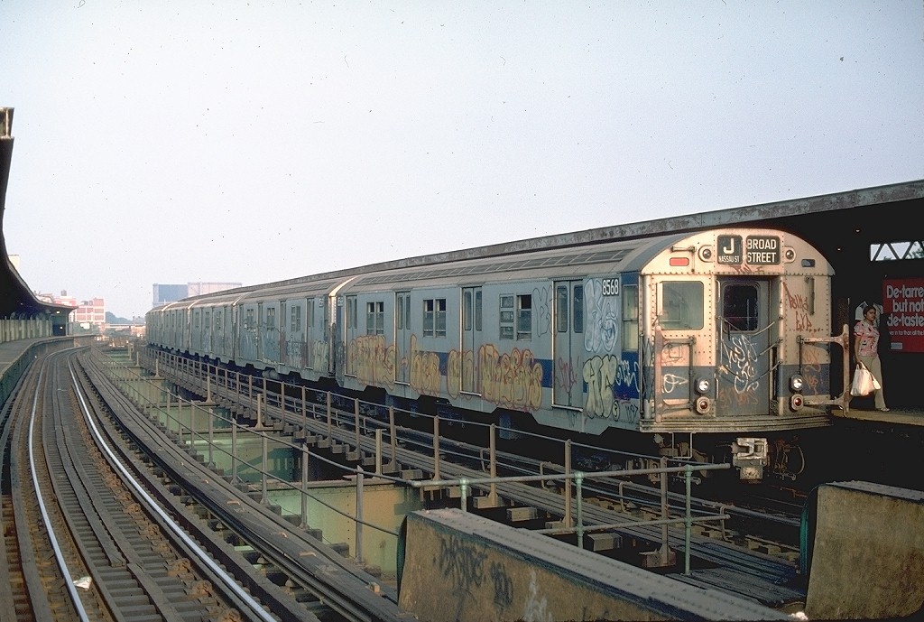 (207k, 1024x689)<br><b>Country:</b> United States<br><b>City:</b> New York<br><b>System:</b> New York City Transit<br><b>Line:</b> BMT Nassau Street/Jamaica Line<br><b>Location:</b> Queens Boulevard (Demolished) <br><b>Route:</b> Jamaica<br><b>Car:</b> R-30 (St. Louis, 1961) 8568 <br><b>Photo by:</b> Ed McKernan<br><b>Collection of:</b> Joe Testagrose<br><b>Date:</b> 8/13/1976<br><b>Viewed (this week/total):</b> 3 / 6103