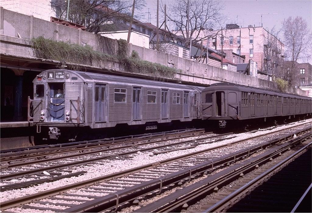 (312k, 1024x699)<br><b>Country:</b> United States<br><b>City:</b> New York<br><b>System:</b> New York City Transit<br><b>Line:</b> BMT Sea Beach Line<br><b>Location:</b> Bay Parkway (22nd Avenue) <br><b>Route:</b> N<br><b>Car:</b> R-32 (Budd, 1964)  3357 <br><b>Photo by:</b> Joe Testagrose<br><b>Date:</b> 4/13/1969<br><b>Viewed (this week/total):</b> 1 / 4184