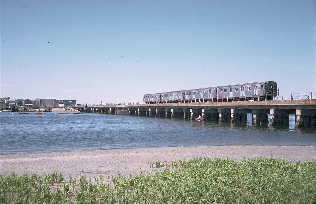 (197k, 1024x663)<br><b>Country:</b> United States<br><b>City:</b> New York<br><b>System:</b> New York City Transit<br><b>Line:</b> IND Rockaway<br><b>Location:</b> Jamaica Bay Crossing<br><b>Route:</b> CC<br><b>Car:</b> R-32 (Budd, 1964)  3377 <br><b>Photo by:</b> Steve Zabel<br><b>Collection of:</b> Joe Testagrose<br><b>Date:</b> 6/4/1977<br><b>Viewed (this week/total):</b> 0 / 4295