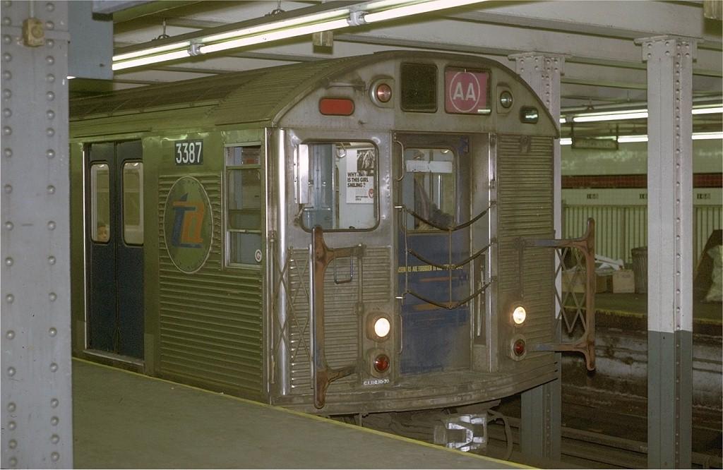 (175k, 1024x666)<br><b>Country:</b> United States<br><b>City:</b> New York<br><b>System:</b> New York City Transit<br><b>Line:</b> IND 8th Avenue Line<br><b>Location:</b> 168th Street<br><b>Route:</b> AA<br><b>Car:</b> R-32 (Budd, 1964) 3387 <br><b>Photo by:</b> Joe Testagrose<br><b>Date:</b> 11/29/1970<br><b>Viewed (this week/total):</b> 0 / 6369