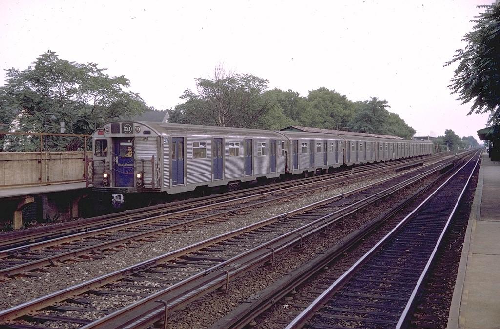 (246k, 1024x675)<br><b>Country:</b> United States<br><b>City:</b> New York<br><b>System:</b> New York City Transit<br><b>Line:</b> BMT Brighton Line<br><b>Location:</b> Avenue J <br><b>Route:</b> QJ<br><b>Car:</b> R-32 (Budd, 1964)  3387 <br><b>Photo by:</b> Doug Grotjahn<br><b>Collection of:</b> Joe Testagrose<br><b>Date:</b> 8/6/1970<br><b>Viewed (this week/total):</b> 4 / 4043