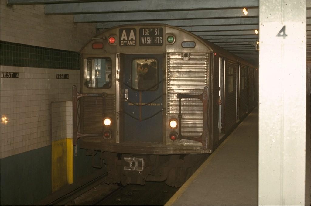 (133k, 1024x678)<br><b>Country:</b> United States<br><b>City:</b> New York<br><b>System:</b> New York City Transit<br><b>Line:</b> IND 8th Avenue Line<br><b>Location:</b> West 4th Street/Washington Square <br><b>Route:</b> AA<br><b>Car:</b> R-32 (Budd, 1964)  3391 <br><b>Photo by:</b> Joe Testagrose<br><b>Date:</b> 5/6/1970<br><b>Viewed (this week/total):</b> 3 / 4130