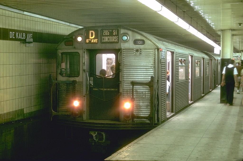 (195k, 1024x680)<br><b>Country:</b> United States<br><b>City:</b> New York<br><b>System:</b> New York City Transit<br><b>Location:</b> DeKalb Avenue<br><b>Route:</b> D<br><b>Car:</b> R-32 (Budd, 1964)  3392 <br><b>Photo by:</b> Joe Testagrose<br><b>Date:</b> 8/10/1969<br><b>Viewed (this week/total):</b> 3 / 6121