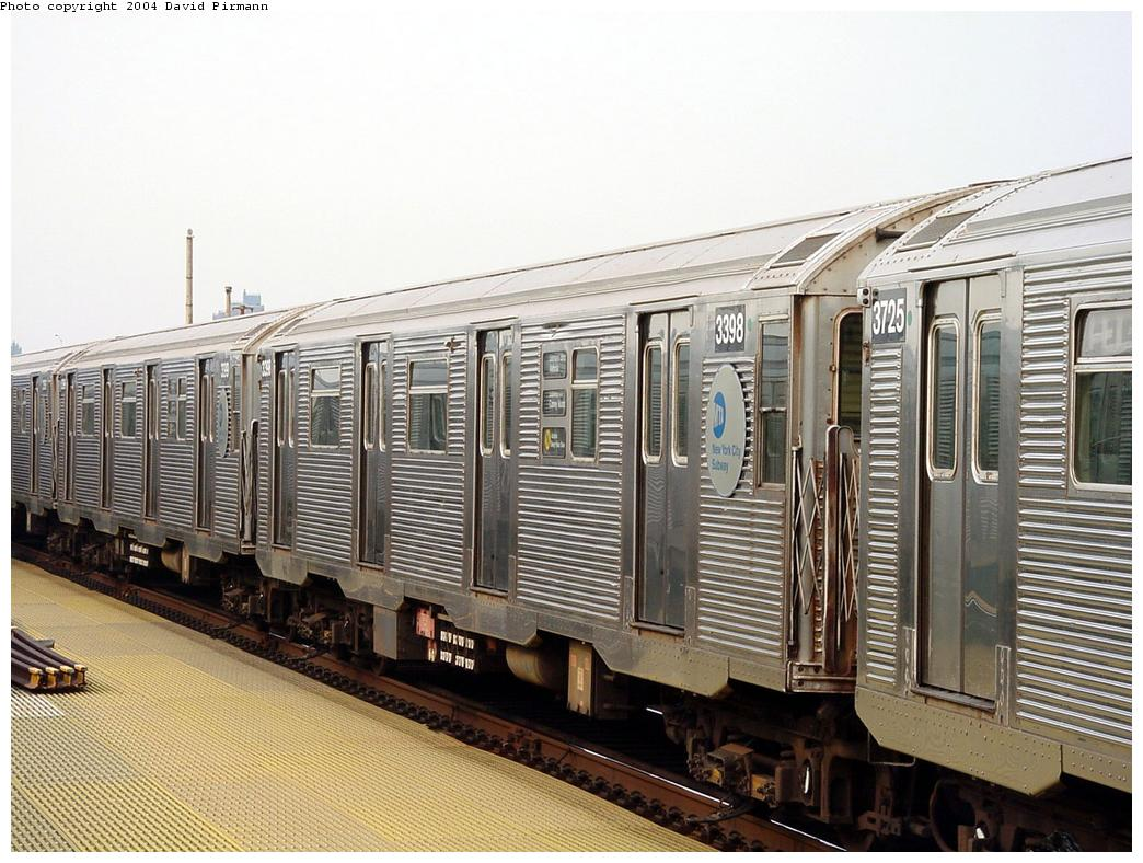 (148k, 1044x788)<br><b>Country:</b> United States<br><b>City:</b> New York<br><b>System:</b> New York City Transit<br><b>Location:</b> Coney Island/Stillwell Avenue<br><b>Route:</b> N<br><b>Car:</b> R-32 (Budd, 1964) 3398 <br><b>Photo by:</b> David Pirmann<br><b>Date:</b> 8/27/2000<br><b>Viewed (this week/total):</b> 0 / 4996