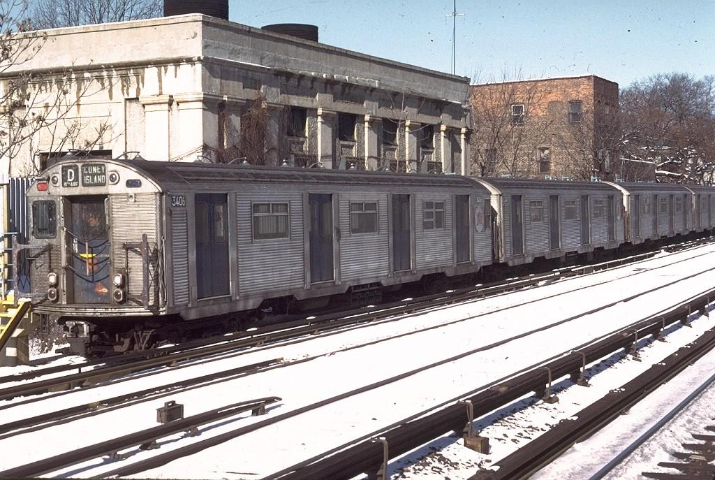 (262k, 1024x687)<br><b>Country:</b> United States<br><b>City:</b> New York<br><b>System:</b> New York City Transit<br><b>Line:</b> BMT Brighton Line<br><b>Location:</b> Avenue H <br><b>Route:</b> D<br><b>Car:</b> R-32 (Budd, 1964)  3406 <br><b>Photo by:</b> Doug Grotjahn<br><b>Collection of:</b> Joe Testagrose<br><b>Date:</b> 2/9/1974<br><b>Viewed (this week/total):</b> 1 / 4940