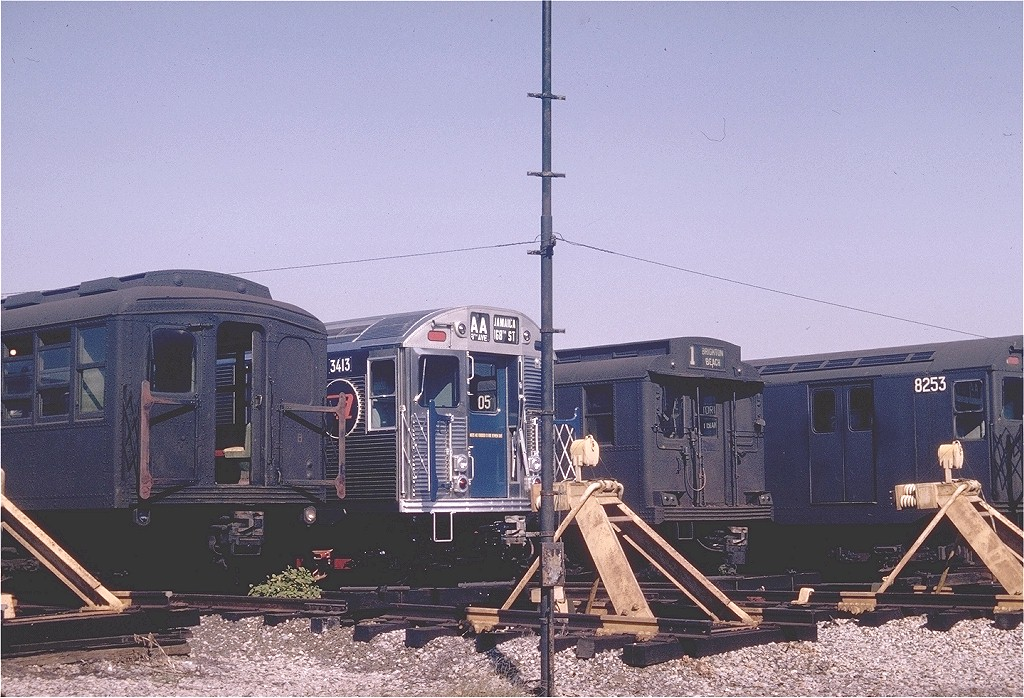 (235k, 1024x698)<br><b>Country:</b> United States<br><b>City:</b> New York<br><b>System:</b> New York City Transit<br><b>Location:</b> Coney Island Yard<br><b>Car:</b> R-32 (Budd, 1964)  3413 <br><b>Photo by:</b> Joel Shanus<br><b>Collection of:</b> Joe Testagrose<br><b>Date:</b> 10/24/1964<br><b>Viewed (this week/total):</b> 3 / 4047