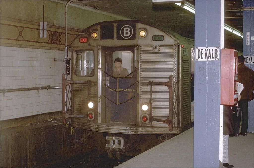 (218k, 1024x678)<br><b>Country:</b> United States<br><b>City:</b> New York<br><b>System:</b> New York City Transit<br><b>Location:</b> DeKalb Avenue<br><b>Route:</b> B<br><b>Car:</b> R-32 (Budd, 1964)  3420 <br><b>Photo by:</b> Joe Testagrose<br><b>Date:</b> 2/10/1971<br><b>Viewed (this week/total):</b> 0 / 3723