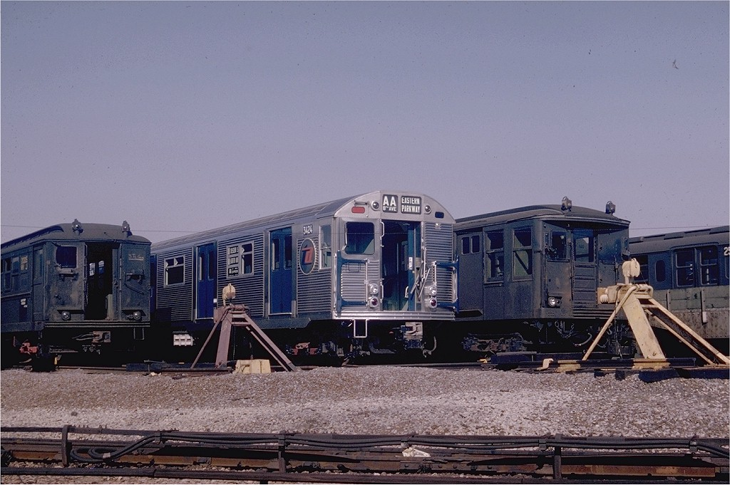 (203k, 1024x681)<br><b>Country:</b> United States<br><b>City:</b> New York<br><b>System:</b> New York City Transit<br><b>Location:</b> Coney Island Yard<br><b>Car:</b> R-32 (Budd, 1964)  3424 <br><b>Photo by:</b> Joel Shanus<br><b>Collection of:</b> Joe Testagrose<br><b>Date:</b> 10/25/1964<br><b>Viewed (this week/total):</b> 2 / 4309