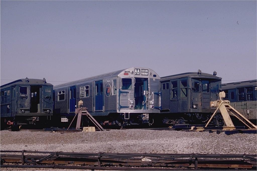 (203k, 1024x681)<br><b>Country:</b> United States<br><b>City:</b> New York<br><b>System:</b> New York City Transit<br><b>Location:</b> Coney Island Yard<br><b>Car:</b> R-32 (Budd, 1964)  3424 <br><b>Photo by:</b> Joel Shanus<br><b>Collection of:</b> Joe Testagrose<br><b>Date:</b> 10/25/1964<br><b>Viewed (this week/total):</b> 2 / 4358