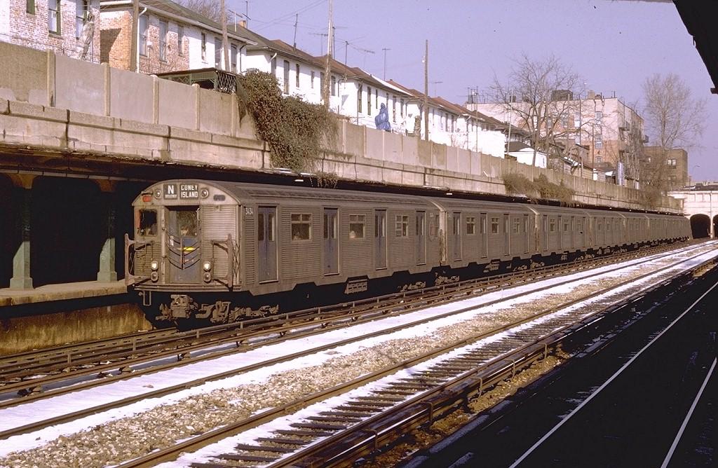 (258k, 1024x668)<br><b>Country:</b> United States<br><b>City:</b> New York<br><b>System:</b> New York City Transit<br><b>Line:</b> BMT Sea Beach Line<br><b>Location:</b> Bay Parkway (22nd Avenue) <br><b>Route:</b> N<br><b>Car:</b> R-32 (Budd, 1964)  3434 <br><b>Photo by:</b> Joe Testagrose<br><b>Date:</b> 2/7/1970<br><b>Viewed (this week/total):</b> 0 / 3898