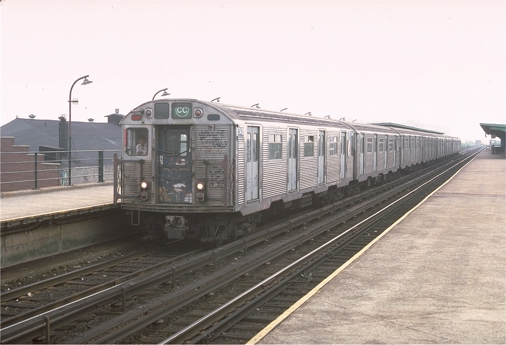 (189k, 1024x700)<br><b>Country:</b> United States<br><b>City:</b> New York<br><b>System:</b> New York City Transit<br><b>Line:</b> IND Rockaway<br><b>Location:</b> Beach 90th Street/Holland <br><b>Route:</b> CC<br><b>Car:</b> R-32 (Budd, 1964)  3435 <br><b>Photo by:</b> Doug Grotjahn<br><b>Collection of:</b> Joe Testagrose<br><b>Date:</b> 6/28/1977<br><b>Viewed (this week/total):</b> 1 / 4400