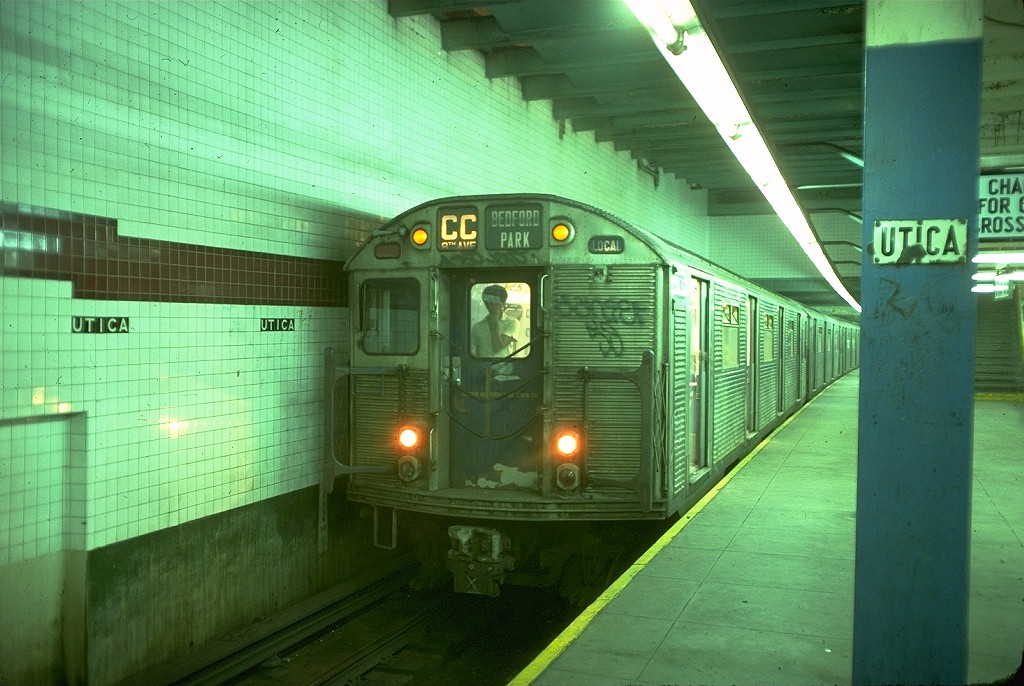 (203k, 1024x686)<br><b>Country:</b> United States<br><b>City:</b> New York<br><b>System:</b> New York City Transit<br><b>Line:</b> IND Fulton Street Line<br><b>Location:</b> Utica Avenue <br><b>Route:</b> CC<br><b>Car:</b> R-32 (Budd, 1964)  3436 <br><b>Photo by:</b> Doug Grotjahn<br><b>Collection of:</b> Joe Testagrose<br><b>Date:</b> 6/30/1977<br><b>Viewed (this week/total):</b> 4 / 5524
