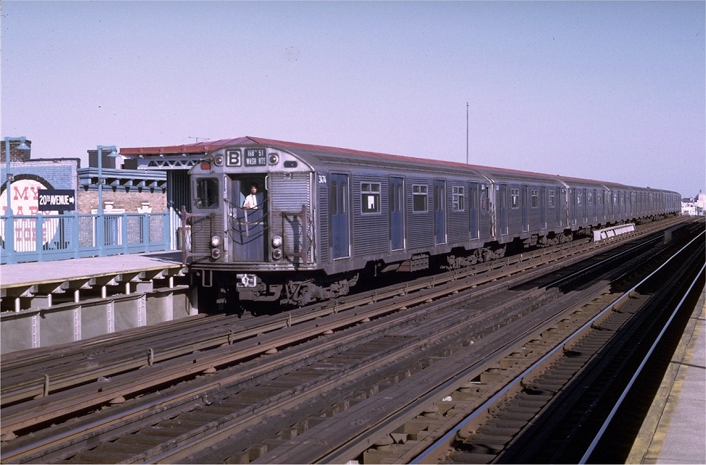 (196k, 1024x675)<br><b>Country:</b> United States<br><b>City:</b> New York<br><b>System:</b> New York City Transit<br><b>Line:</b> BMT West End Line<br><b>Location:</b> 20th Avenue <br><b>Route:</b> B<br><b>Car:</b> R-32 (Budd, 1964)  3474 <br><b>Photo by:</b> Joe Testagrose<br><b>Date:</b> 8/21/1969<br><b>Viewed (this week/total):</b> 3 / 3754