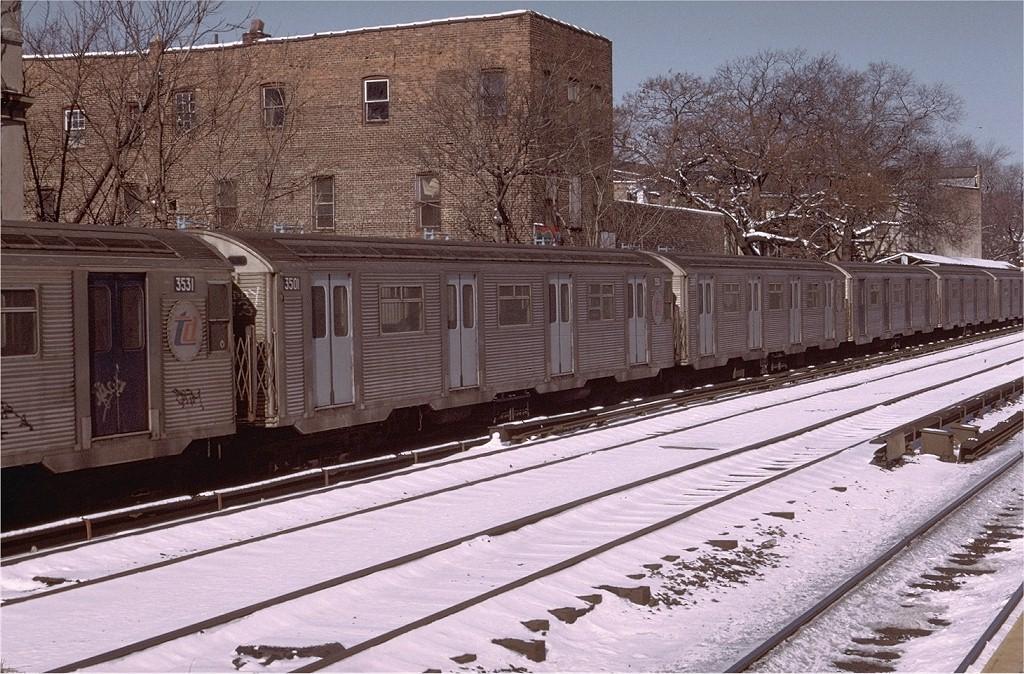 (257k, 1024x674)<br><b>Country:</b> United States<br><b>City:</b> New York<br><b>System:</b> New York City Transit<br><b>Line:</b> BMT Brighton Line<br><b>Location:</b> Avenue H <br><b>Route:</b> D<br><b>Car:</b> R-32 (Budd, 1964)  3501 <br><b>Photo by:</b> Doug Grotjahn<br><b>Collection of:</b> Joe Testagrose<br><b>Date:</b> 2/9/1974<br><b>Viewed (this week/total):</b> 0 / 4237