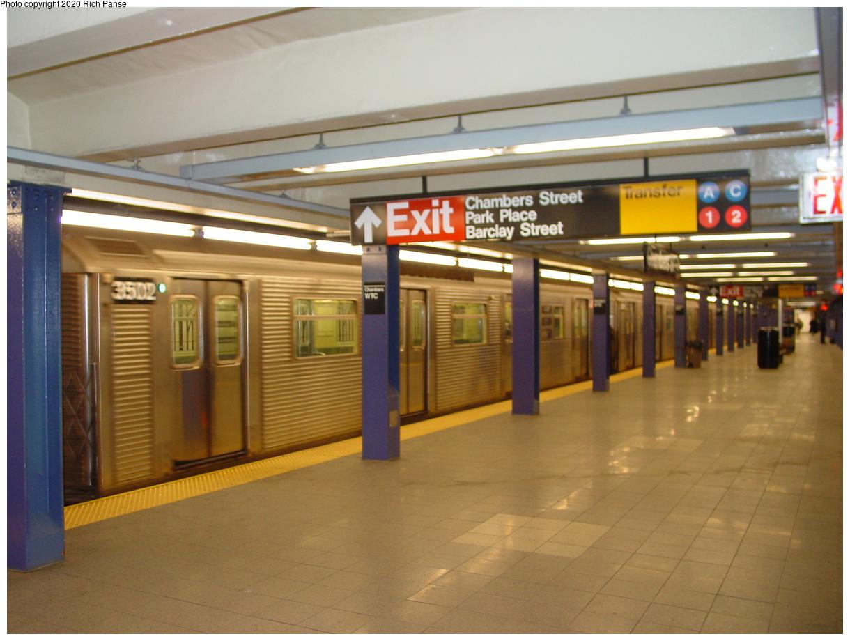 (66k, 820x620)<br><b>Country:</b> United States<br><b>City:</b> New York<br><b>System:</b> New York City Transit<br><b>Line:</b> IND 8th Avenue Line<br><b>Location:</b> Chambers Street/World Trade Center <br><b>Car:</b> R-32 (Budd, 1964)  3502 <br><b>Photo by:</b> Richard Panse<br><b>Date:</b> 2/9/2002<br><b>Viewed (this week/total):</b> 4 / 8164