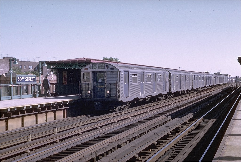 (219k, 1024x689)<br><b>Country:</b> United States<br><b>City:</b> New York<br><b>System:</b> New York City Transit<br><b>Line:</b> BMT West End Line<br><b>Location:</b> 50th Street <br><b>Route:</b> B<br><b>Car:</b> R-32 (Budd, 1964)  3504 <br><b>Photo by:</b> Joe Testagrose<br><b>Date:</b> 8/21/1969<br><b>Viewed (this week/total):</b> 0 / 3338