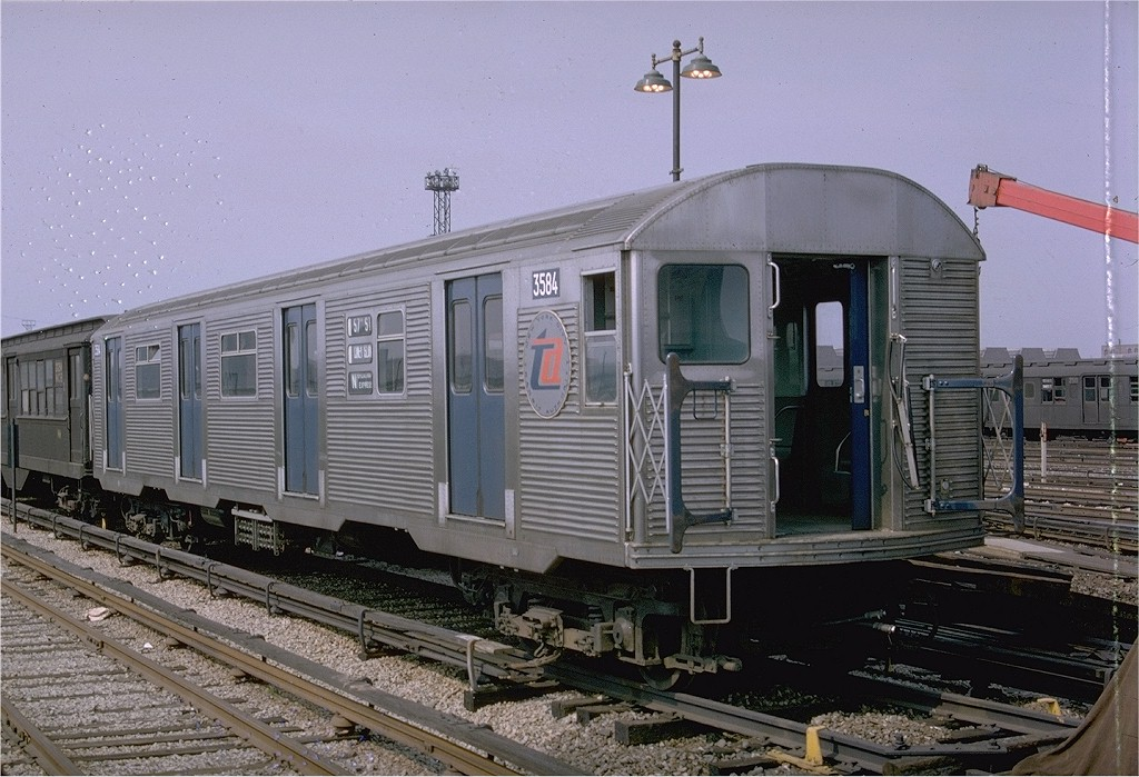 (213k, 1024x699)<br><b>Country:</b> United States<br><b>City:</b> New York<br><b>System:</b> New York City Transit<br><b>Location:</b> Coney Island Yard<br><b>Car:</b> R-32 (Budd, 1964)  3584 <br><b>Photo by:</b> Doug Grotjahn<br><b>Collection of:</b> Joe Testagrose<br><b>Date:</b> 5/1965<br><b>Viewed (this week/total):</b> 1 / 3437