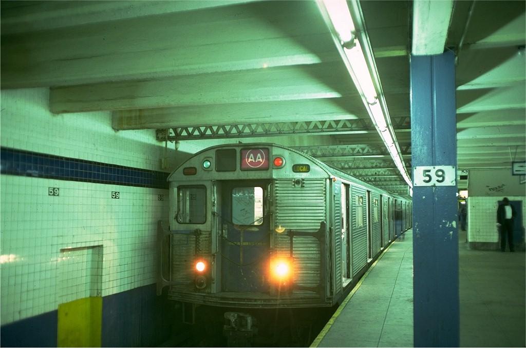 (168k, 1024x679)<br><b>Country:</b> United States<br><b>City:</b> New York<br><b>System:</b> New York City Transit<br><b>Line:</b> IND 8th Avenue Line<br><b>Location:</b> 59th Street/Columbus Circle <br><b>Route:</b> AA<br><b>Car:</b> R-32 (Budd, 1964)  3597 <br><b>Collection of:</b> Joe Testagrose<br><b>Date:</b> 5/30/1976<br><b>Viewed (this week/total):</b> 3 / 5150