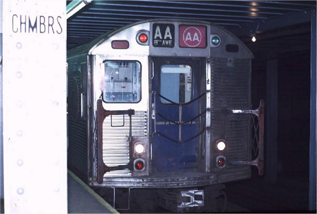 (120k, 1024x692)<br><b>Country:</b> United States<br><b>City:</b> New York<br><b>System:</b> New York City Transit<br><b>Line:</b> IND 8th Avenue Line<br><b>Location:</b> Chambers Street/World Trade Center <br><b>Route:</b> AA<br><b>Car:</b> R-32 (Budd, 1964)  3617 <br><b>Photo by:</b> Joe Testagrose<br><b>Date:</b> 11/25/1970<br><b>Viewed (this week/total):</b> 2 / 3697