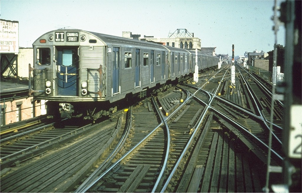 (253k, 1024x656)<br><b>Country:</b> United States<br><b>City:</b> New York<br><b>System:</b> New York City Transit<br><b>Line:</b> BMT Nassau Street/Jamaica Line<br><b>Location:</b> Myrtle Avenue <br><b>Route:</b> TT<br><b>Car:</b> R-32 (Budd, 1964)  3636 <br><b>Collection of:</b> Joe Testagrose<br><b>Date:</b> 7/1966<br><b>Viewed (this week/total):</b> 0 / 5022