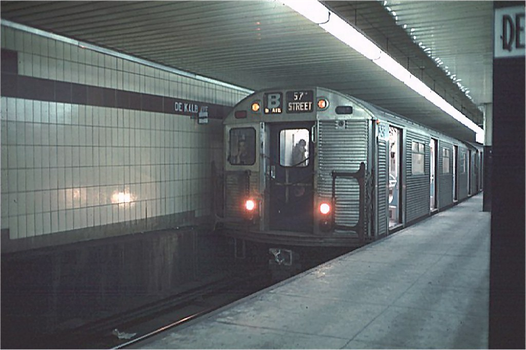 (136k, 1024x682)<br><b>Country:</b> United States<br><b>City:</b> New York<br><b>System:</b> New York City Transit<br><b>Location:</b> DeKalb Avenue<br><b>Route:</b> B<br><b>Car:</b> R-32 (Budd, 1964)  3639 <br><b>Photo by:</b> Doug Grotjahn<br><b>Collection of:</b> Joe Testagrose<br><b>Date:</b> 11/21/1968<br><b>Viewed (this week/total):</b> 1 / 4385