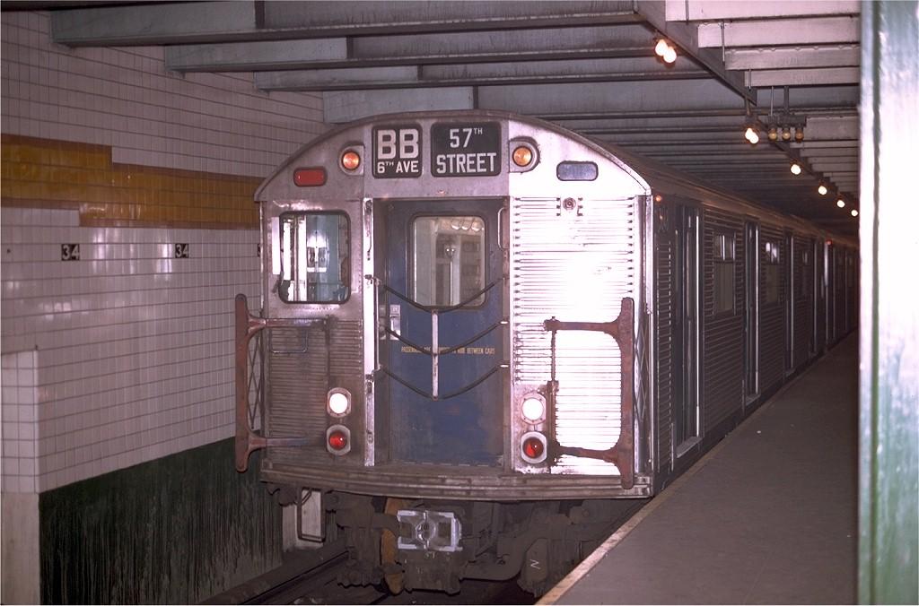 (172k, 1024x676)<br><b>Country:</b> United States<br><b>City:</b> New York<br><b>System:</b> New York City Transit<br><b>Line:</b> IND 6th Avenue Line<br><b>Location:</b> 34th Street/Herald Square <br><b>Route:</b> B<br><b>Car:</b> R-32 (Budd, 1964)  3648 <br><b>Photo by:</b> Joe Testagrose<br><b>Date:</b> 4/29/1970<br><b>Viewed (this week/total):</b> 2 / 4275