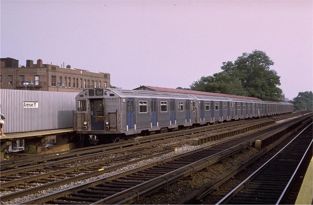 (212k, 1024x671)<br><b>Country:</b> United States<br><b>City:</b> New York<br><b>System:</b> New York City Transit<br><b>Line:</b> BMT Brighton Line<br><b>Location:</b> Avenue M <br><b>Route:</b> QJ<br><b>Car:</b> R-32 (Budd, 1964)  3653 <br><b>Photo by:</b> Joe Testagrose<br><b>Date:</b> 6/27/1972<br><b>Viewed (this week/total):</b> 1 / 4089