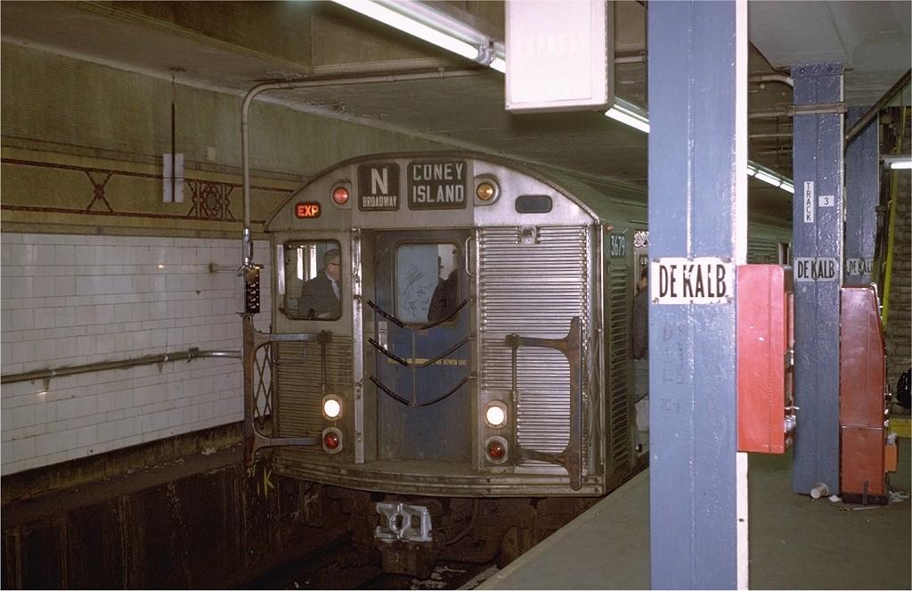 (186k, 1024x663)<br><b>Country:</b> United States<br><b>City:</b> New York<br><b>System:</b> New York City Transit<br><b>Location:</b> DeKalb Avenue<br><b>Route:</b> N<br><b>Car:</b> R-32 (Budd, 1964)  3679 <br><b>Photo by:</b> Steve Zabel<br><b>Collection of:</b> Joe Testagrose<br><b>Date:</b> 1/23/1971<br><b>Viewed (this week/total):</b> 0 / 4109