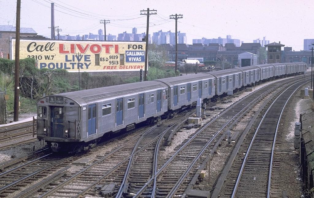 (262k, 1024x648)<br><b>Country:</b> United States<br><b>City:</b> New York<br><b>System:</b> New York City Transit<br><b>Line:</b> BMT Sea Beach Line<br><b>Location:</b> 86th Street <br><b>Route:</b> N<br><b>Car:</b> R-32 (Budd, 1964)  3684 <br><b>Photo by:</b> Joe Testagrose<br><b>Date:</b> 5/3/1969<br><b>Viewed (this week/total):</b> 0 / 5320
