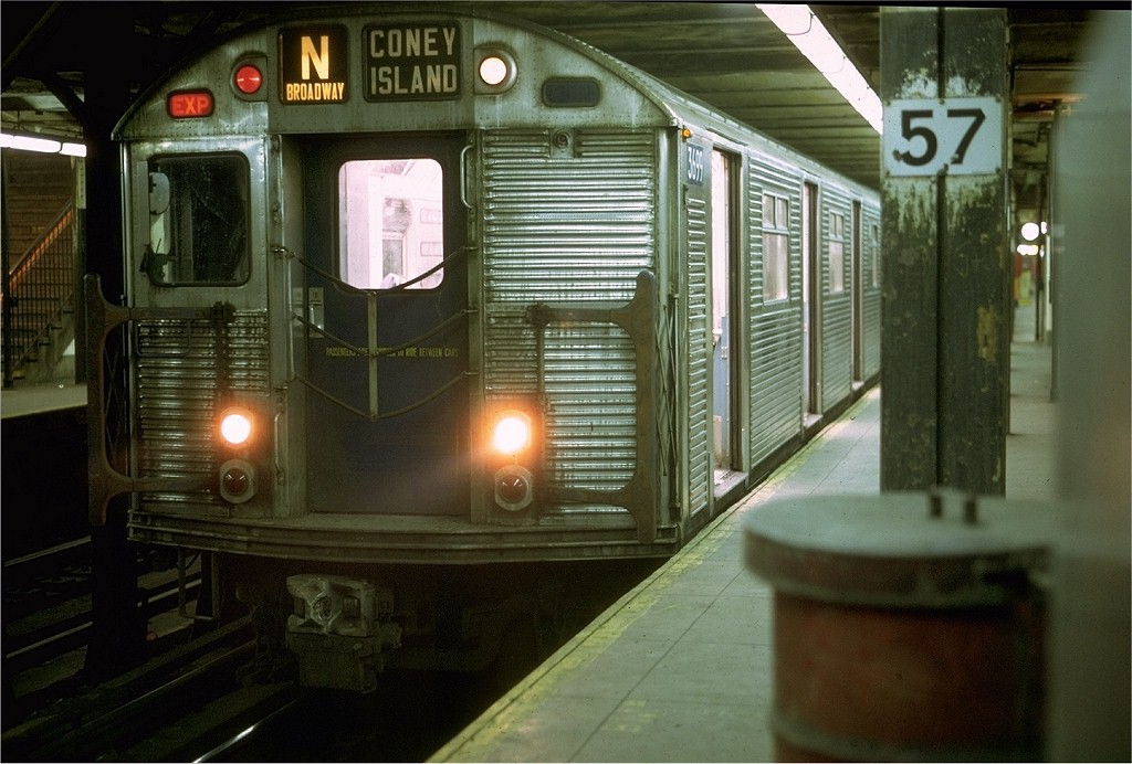 (184k, 1024x692)<br><b>Country:</b> United States<br><b>City:</b> New York<br><b>System:</b> New York City Transit<br><b>Line:</b> BMT Broadway Line<br><b>Location:</b> 57th Street <br><b>Route:</b> N<br><b>Car:</b> R-32 (Budd, 1964)  3699 <br><b>Photo by:</b> Joe Testagrose<br><b>Date:</b> 4/30/1969<br><b>Viewed (this week/total):</b> 1 / 4305