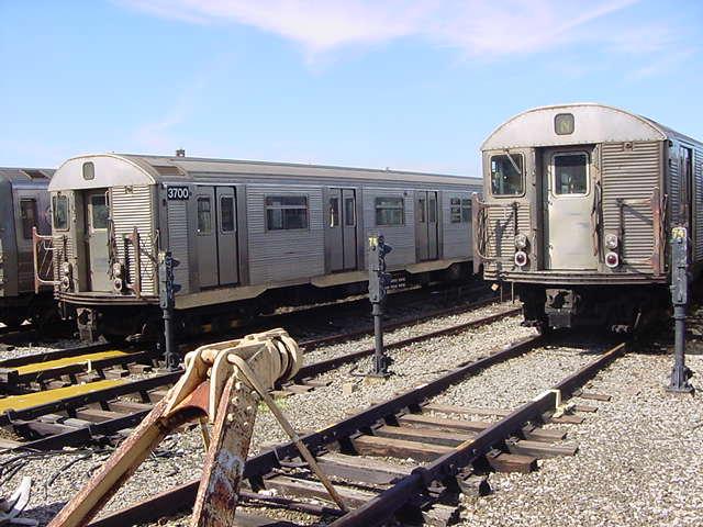 (61k, 640x480)<br><b>Country:</b> United States<br><b>City:</b> New York<br><b>System:</b> New York City Transit<br><b>Location:</b> Coney Island Yard<br><b>Car:</b> R-32 (Budd, 1964)  3700 <br><b>Photo by:</b> Salaam Allah<br><b>Date:</b> 10/29/2000<br><b>Viewed (this week/total):</b> 0 / 3799
