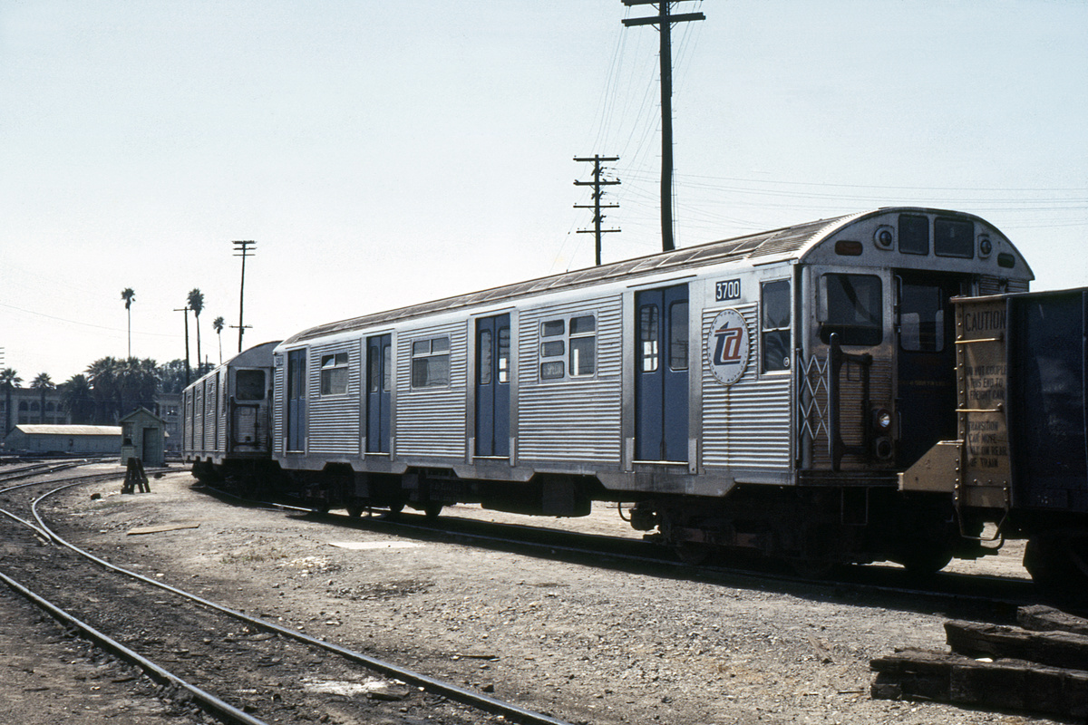 (430k, 1024x683)<br><b>Country:</b> United States<br><b>City:</b> New York<br><b>System:</b> New York City Transit<br><b>Location:</b> San Bernardino, CA<br><b>Car:</b> R-32 (Budd, 1964)  3700 <br><b>Photo by:</b> Steve Hoskins<br><b>Collection of:</b> David Pirmann<br><b>Date:</b> 8/1972<br><b>Notes:</b> In San Bernardino, CA. en route for installation of test braking systems<br><b>Viewed (this week/total):</b> 1 / 4322
