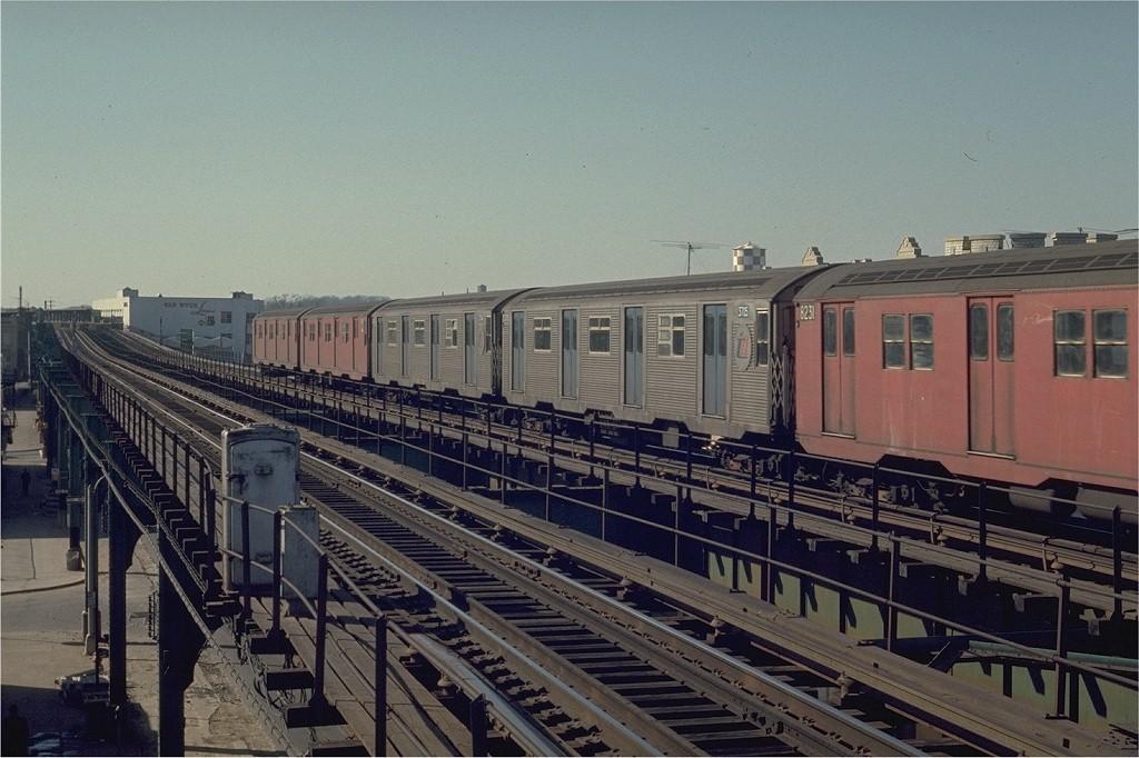 (200k, 1024x682)<br><b>Country:</b> United States<br><b>City:</b> New York<br><b>System:</b> New York City Transit<br><b>Line:</b> BMT Nassau Street/Jamaica Line<br><b>Location:</b> Queens Boulevard (Demolished) <br><b>Route:</b> QJ<br><b>Car:</b> R-32 (Budd, 1964)  3705 <br><b>Photo by:</b> Joe Testagrose<br><b>Date:</b> 2/22/1970<br><b>Viewed (this week/total):</b> 3 / 5069